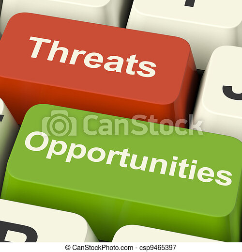 Threats And Opportunities Computer Keys Showing Business Risks Or Improvements - csp9465397