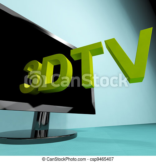 Three Dimensional Television Meaning 3D HD TV - csp9465407
