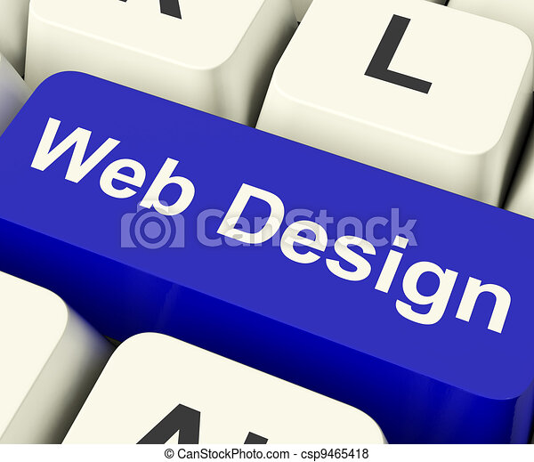 Web Design Computer Key Shows Internet Or Online Graphic Designing - csp9465418