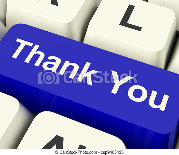 Thank You Computer Key As Online Thanks Message - csp9465435