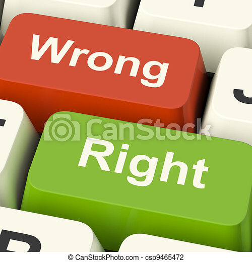 Right And Wrong Computer Keys Shows Results Validation Or Decisions - csp9465472