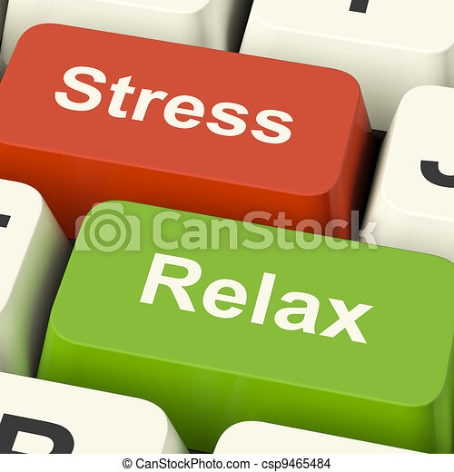 Stress Relax Computer Keys Shows Pressure Of Work Or Relaxation Online - csp9465484