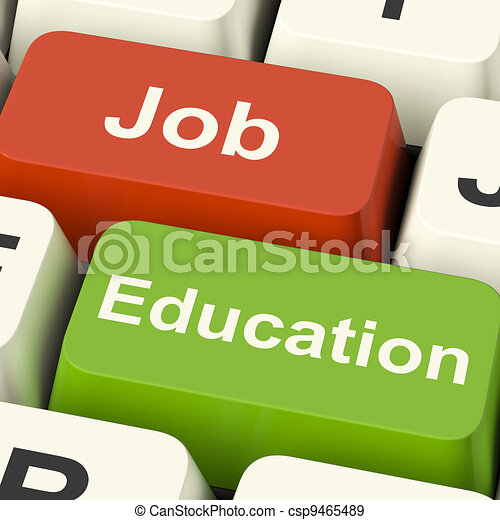 Job And Education Computer Keys Shows Choice Of Working Or Studying - csp9465489