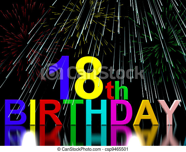Clipart of 18th or Eighteenth Birthday Celebrated With Fireworks ...