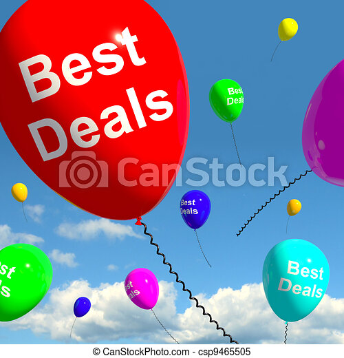 Best Deals Balloons Representing Bargains Or Discounts - csp9465505