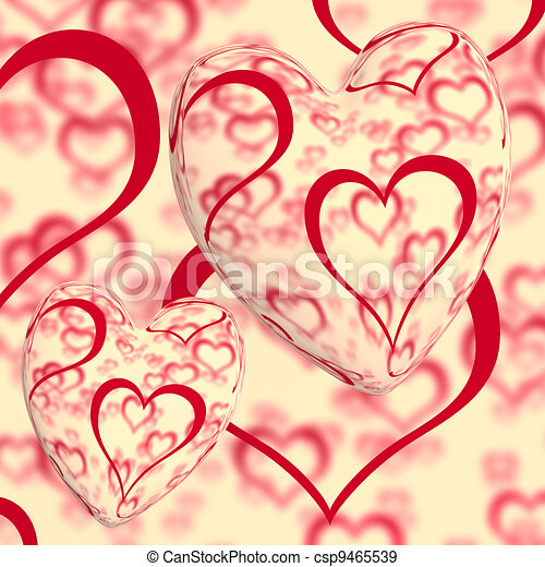 Red Hearts Design On A Heart Background Shows Love Romance And Romantic Feelings - csp9465539