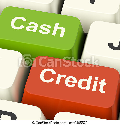 Cash And Credit Keys Showing Consumer Purchases Using Money Or Debts - csp9465570