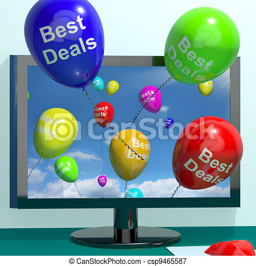 Best Deals Balloons From Computer Representing Bargains And Discounts Online - csp9465587