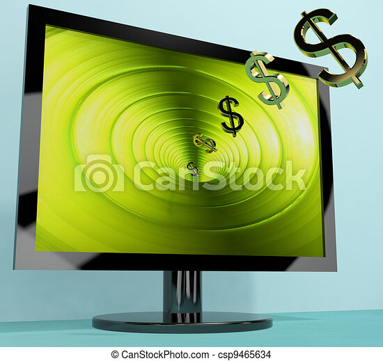 Dollar Symbols Coming From Screen Showing Money Wealth Earnings Or Online Winning - csp9465634