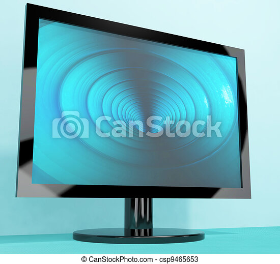 TV Monitor With Blue Vortex Picture Representing High Definition Television Or HDTVs - csp9465653