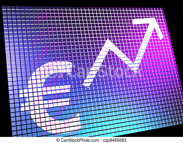 Euro Sign And Up Arrow As Symbol For Earnings Or Profit Online - csp9465683