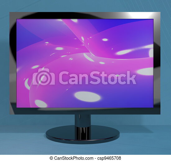 TV Monitor On Stand Representing High Definition Television Or HDTVs - csp9465708