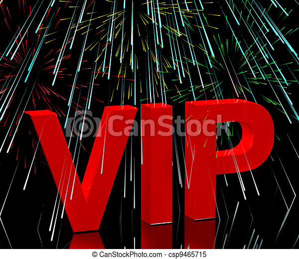 VIP Word With Fireworks Showing Celebrity Or Millionaire Party  - csp9465715