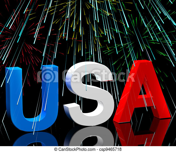 Usa Word And Fireworks As Symbol For America And Patriotism - csp9465718