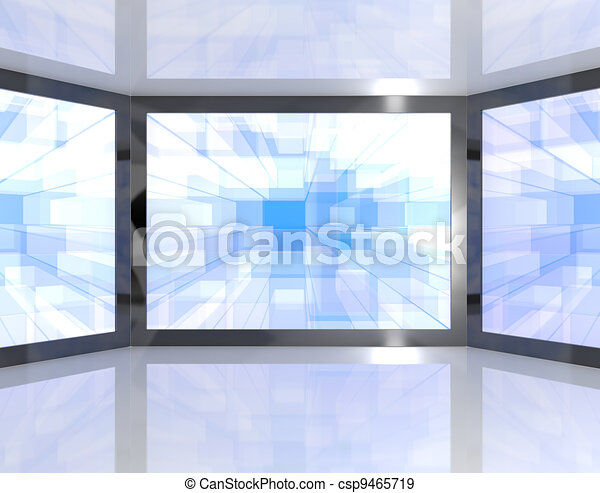 Big Blue TV Monitors Wall Mounted Representing High Definition Televisions Or HDTV - csp9465719