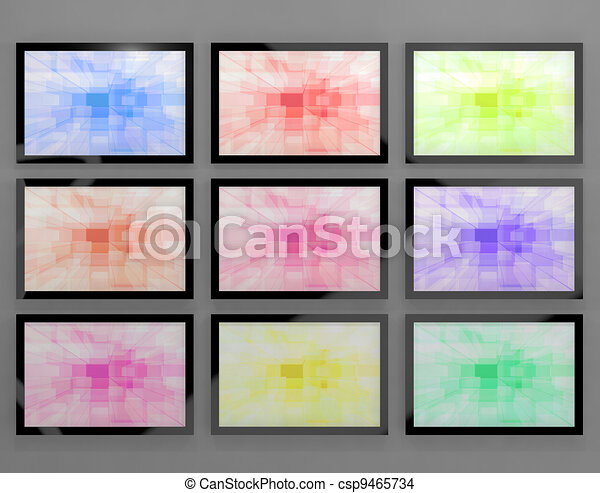 TV Monitors Wall Mounted In Different Colors Representing High Definition Televisions Or HDTV - csp9465734
