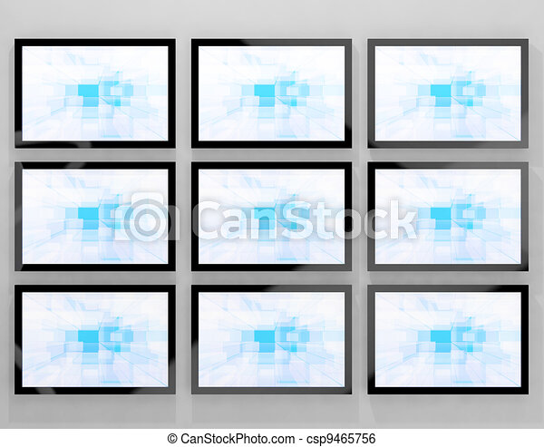 TV Monitors Wall Mounted Representing High Definition Television Or HDTVs - csp9465756
