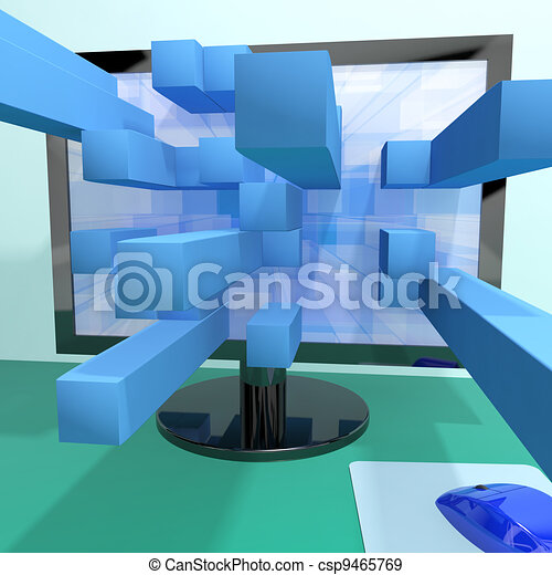 Three Dimensional Squares On Computer Monitor Shows 3d Graphics Software Or Illustrations - csp9465769