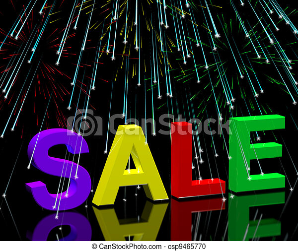 Sale Word And Fireworks Showing Promotion Discount And Price Reductions - csp9465770