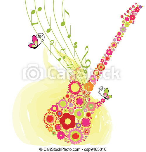 Springtime flower guitar music festival background - csp9465810