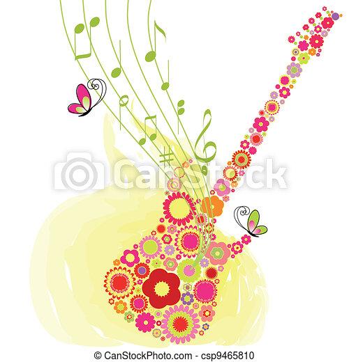 Springtime flower guitar music festival background - csp9465810