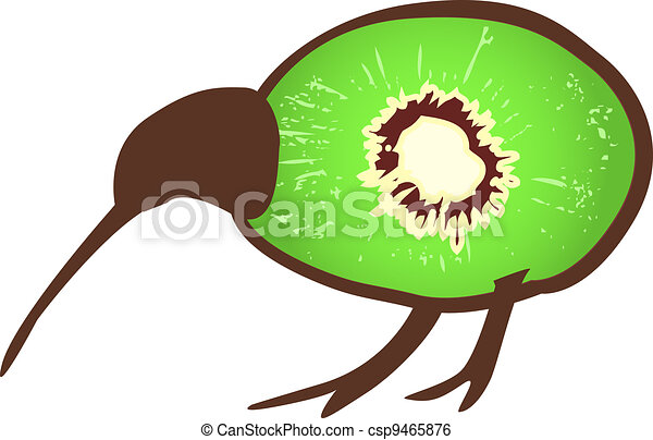Kiwi bird with kiwi - csp9465876