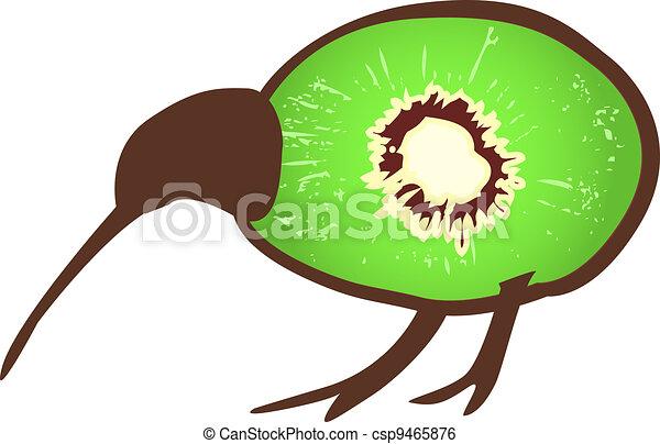 Kiwi bird with kiwi - csp9465876