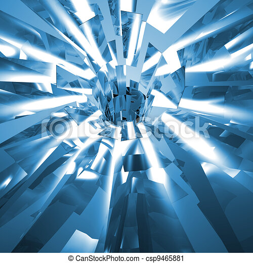 Shiny Exploding Metal Or Glass Background Of Shattered Pieces - csp9465881
