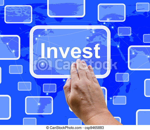 Invest Word Button Representing Saving Stocks And Interest - csp9465883
