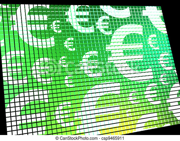 Euro Symbols On Computer Screen Showing Money And Investment - csp9465911