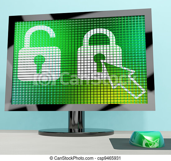 Padlock Icon On A Computer Screen Showing Safety Security And Protected - csp9465931