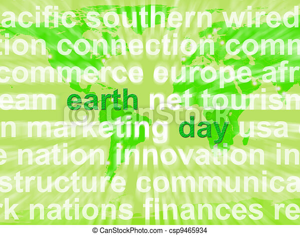 Earth Day Words Showing Environmental Concern And Conservation - csp9465934