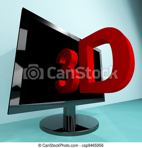 Three Dimensional Television Or 3D HD TV - csp9465956