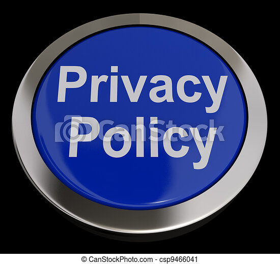 Privacy Policy Button In Blue Showing The Company Data Protection Terms - csp9466041