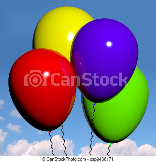 Festive Colorfull Balloons In The Sky For Birthday Or Anniversary Celebrations - csp9466171
