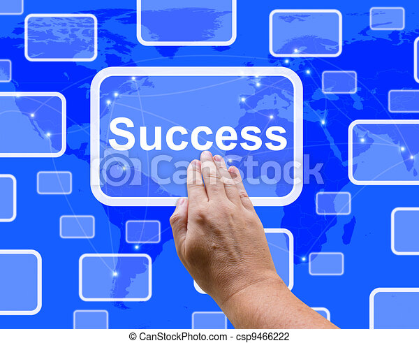 Success Button Being Pressed By A Hand Showing Achievement And Determination - csp9466222