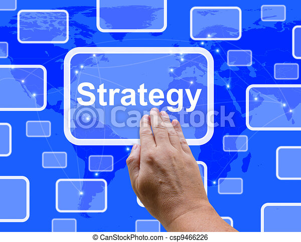 Strategy Button Showing Planning And Vision To Achieve Goals - csp9466226