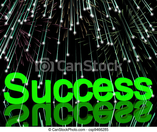 Success And Fireworks Showing Achievement And Determination - csp9466285