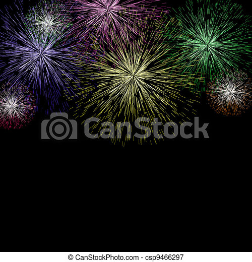 Exploding Fireworks Background As New Years Or Independence Celebrations - csp9466297