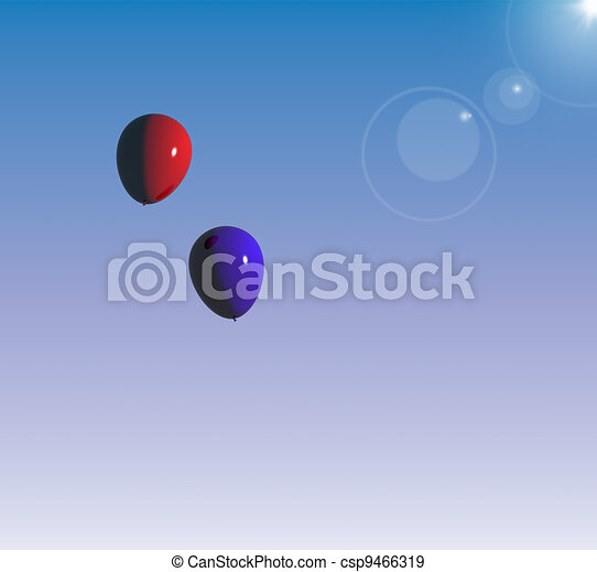 Red And Blue Balloon Floating In The Blue Sky Representing Togetherness - csp9466319