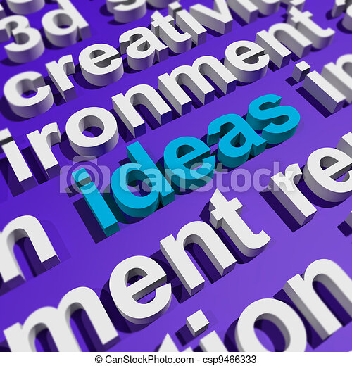 Ideas Word In 3d Lettering Showing Concepts Or Creativity - csp9466333