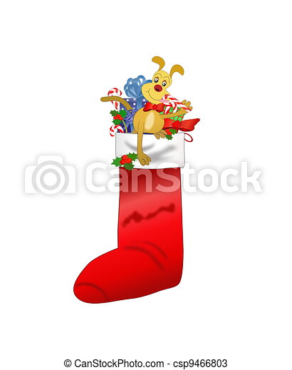 Christmas Stocking with Dog - csp9466803