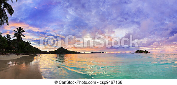 Tropical beach Cote d'Or at sunset, Seychelles - csp9467166