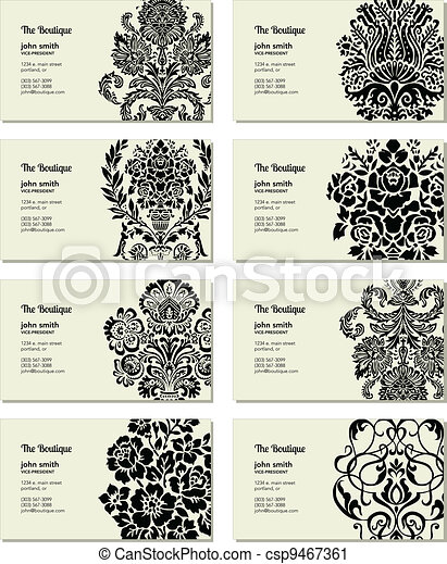 Vector Victorian Business Card Set - csp9467361