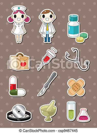 Hospital doodle stickers - csp9467445