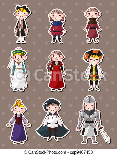 cartoon medieval people stickers - csp9467450