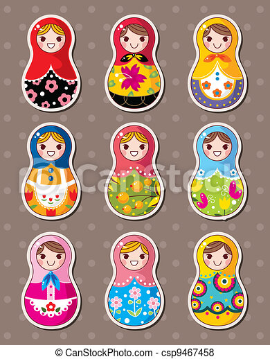 Russian dolls stickers - csp9467458
