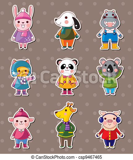 winter animal stickers - csp9467465