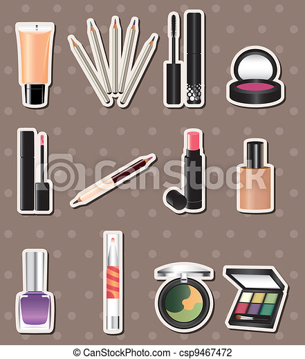 cartoon makeup stickers - csp9467472
