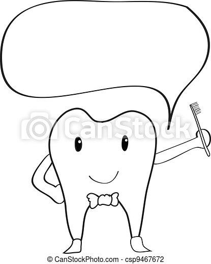 Teeth cartoon hand drawing - csp9467672